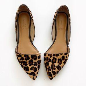 J Crew Zoe Leopard Calf Hair D'Orsay Pointy Flats